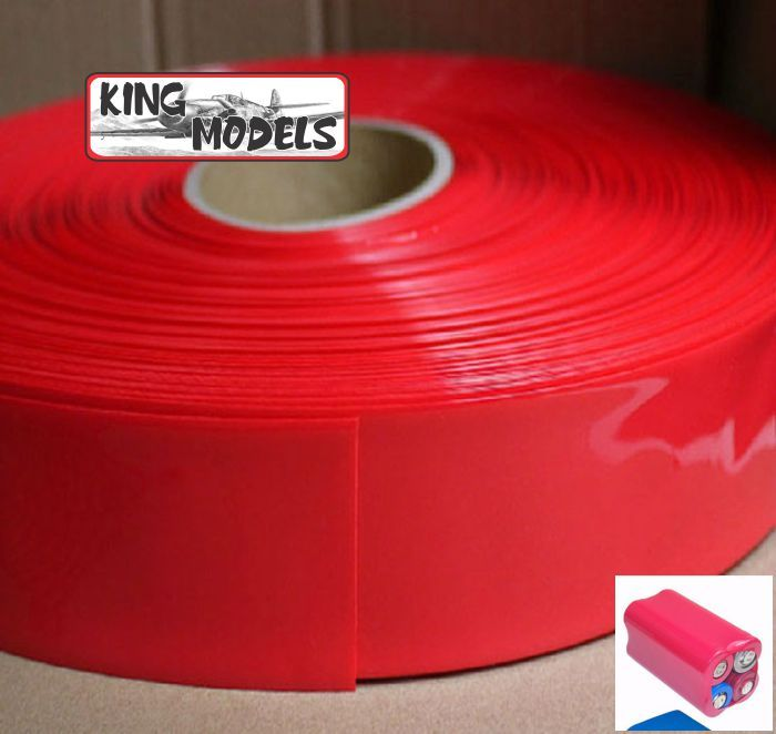 Tubo Termo-retrátil Vermelho Pvc 66mm (chato) -diametro 42mm  - King Models