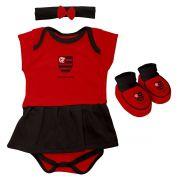 Kit 3 Peças Torcida Baby Body Menina Flamengo - 033B