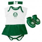 Kit 3 Peças Torcida Baby Body Menina Palmeiras - 033B