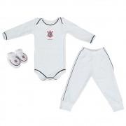 Kit 3 Peças Uniforme Bebê do Corinthians Longo Torcida Baby - 034