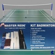 Kit Badminton Oficial Master Rede (Rede + Petecas + Mastros)