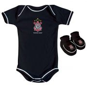 Kit Body + Pantufa para Bebê do Corinthians 033a