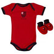 Kit Body + Pantufa para Bebê do Flamengo 033a
