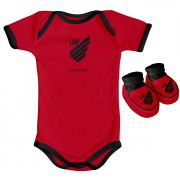 Kit Body + Pantufa para Bebê do Atlético Paranaense 033a