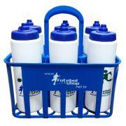 Kit c/6 Squeeze + Cesta Porta Garrafas Azul Bico Automático