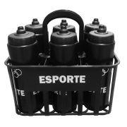 Kit c/6 Squeeze + Cesta Porta Garrafas Preta Bico Automático