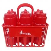 Kit c/6 Squeeze + Cesta Porta Garrafas Vermelha Bico Automático