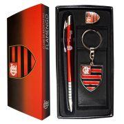 Kit Caneta + Chaveiro + Boton do Flamengo