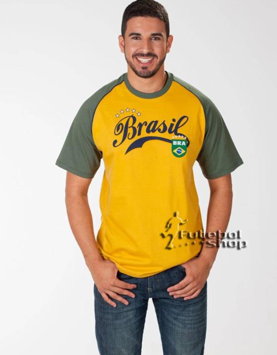 Camiseta do Brasill Adulto de Algodão - School