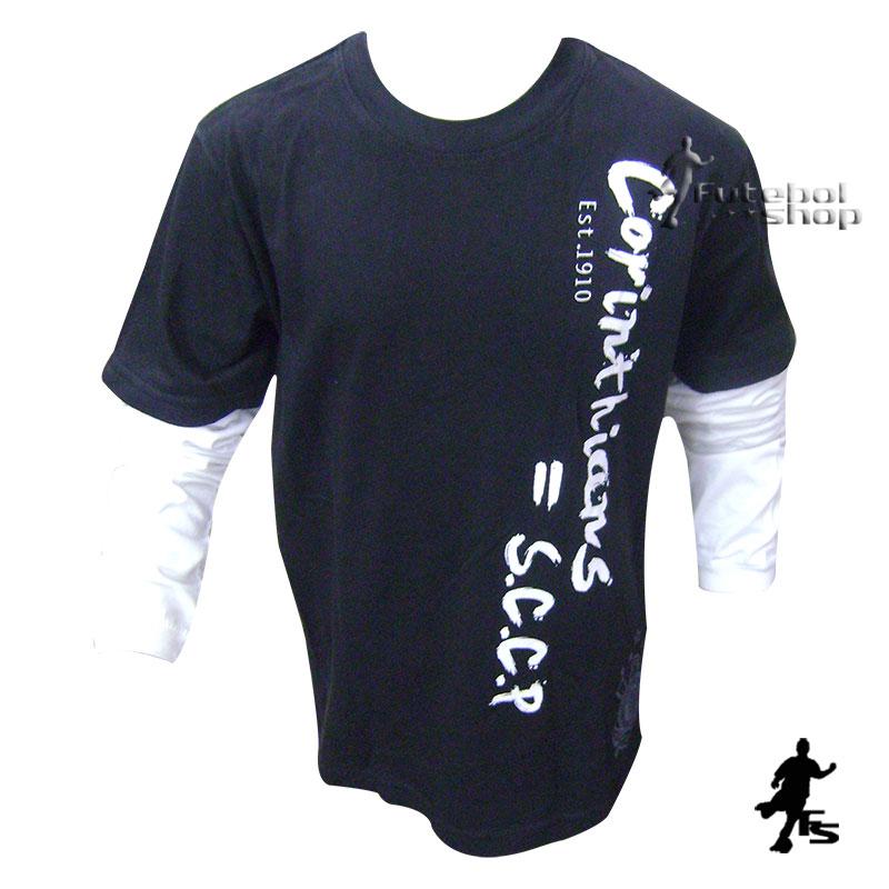 Camisa do Corinthians Infantil Manga Longa - BW182 - FUTEBOL SHOP a868dfb13db