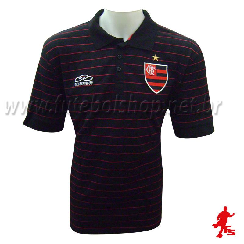 Camisa Polo Listrada Flamengo Rubro Negro - FL09003V