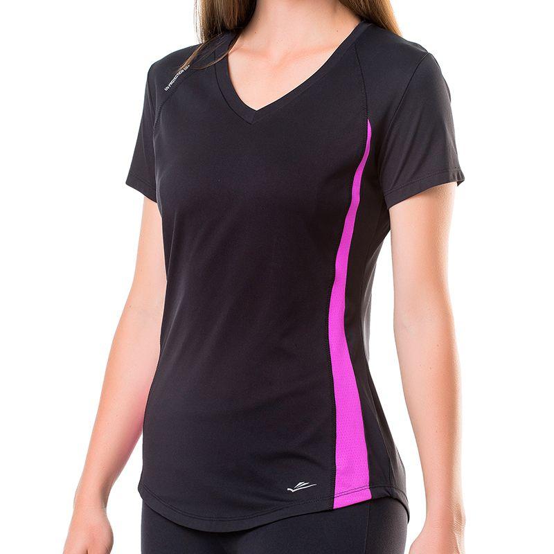 Camiseta Feminina Running Elite Preta/Roxo 125807