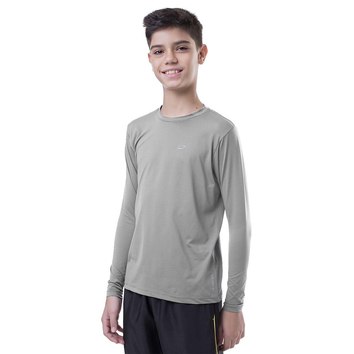 Camiseta Térmica Infantil Cinza Elite UPF 50+