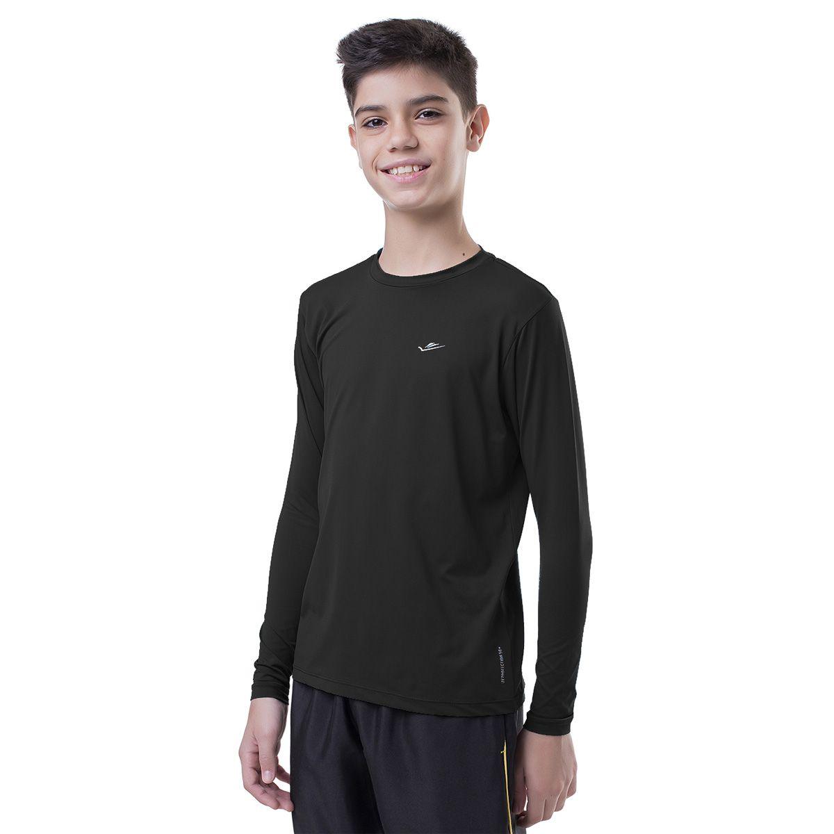 Camiseta Térmica Infantil Preta Elite UPF 50+