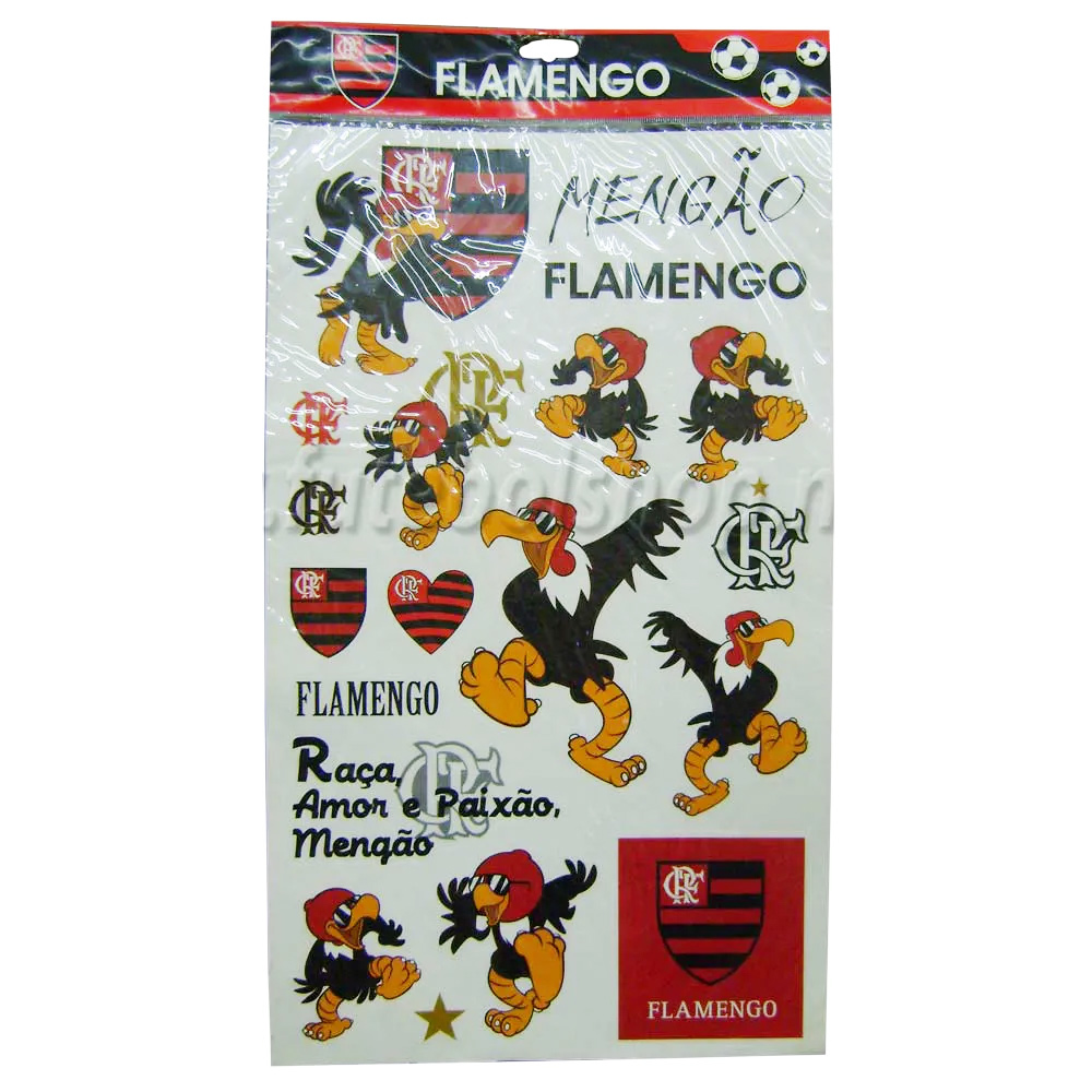 Cartela de Adesivos do Flamengo