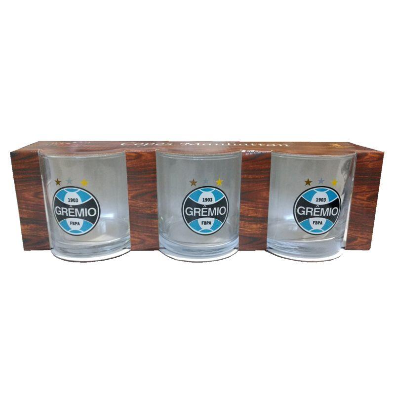 Conjunto 3 Copos do Grêmio 300 ml Manhattan Cylinder Rocks