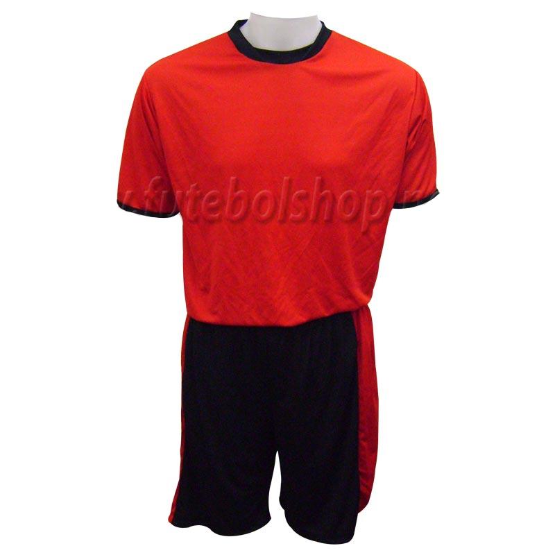 Jogo de Camisa Uniforme Rhama -  Vermelho e Preto - 8 Conjuntos + Goleiros
