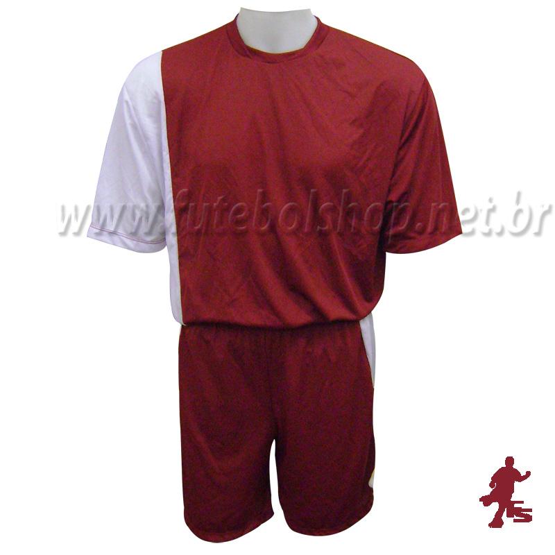25503152cbc87 Jogo de Camisa Uniforme Rhama - Grená e Branco - 6 Conjuntos + Goleiros -  FUTEBOL ...