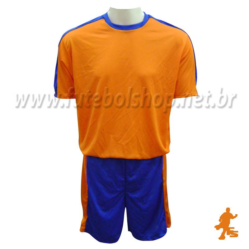 Jogo de Camisa Uniforme Rhama -  Laranja e Azul - 7 Conjuntos + Goleiros