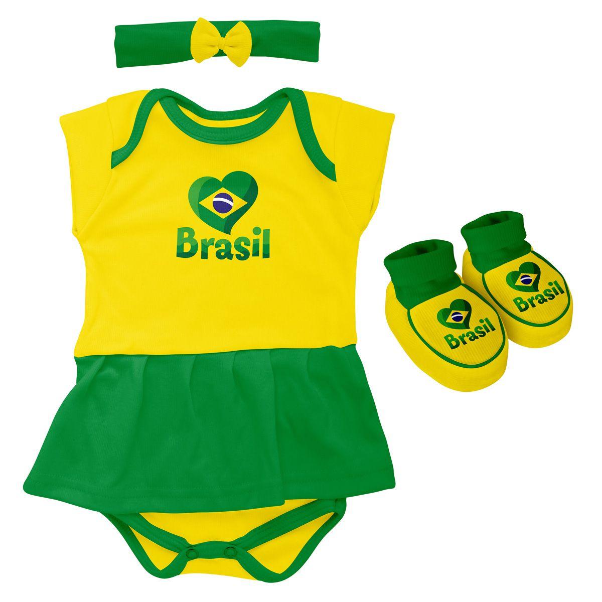 Kit 3 Peças Body Bebê para Menina do Brasil Torcida Baby - 033B