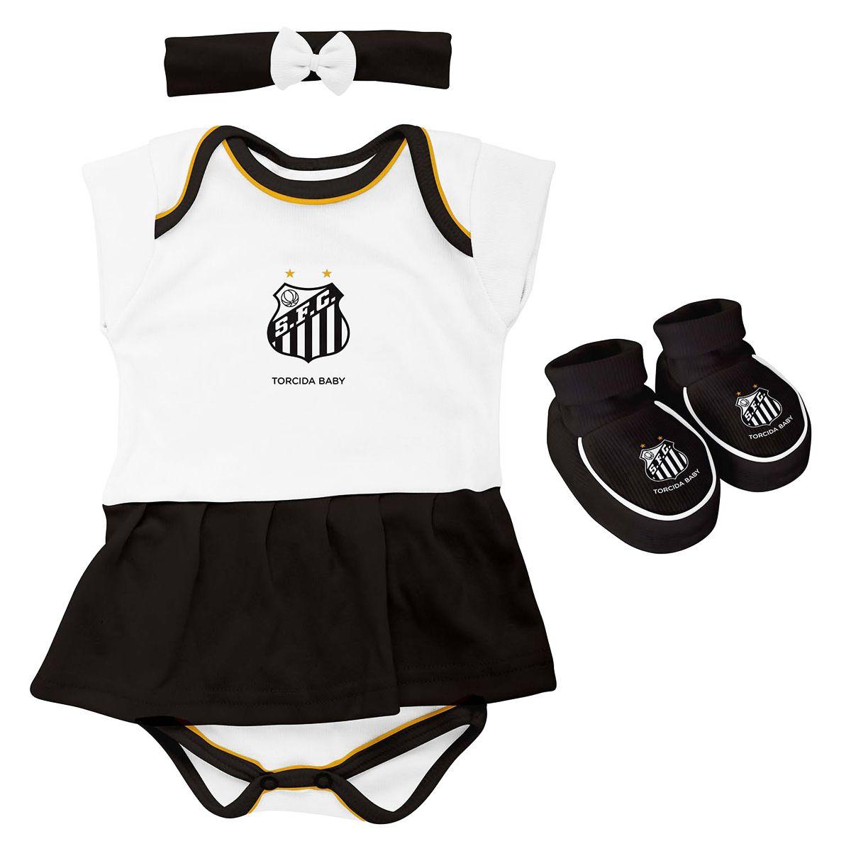 Kit 3 Peças Body Para Menina do Santos Torcida Baby - 033B