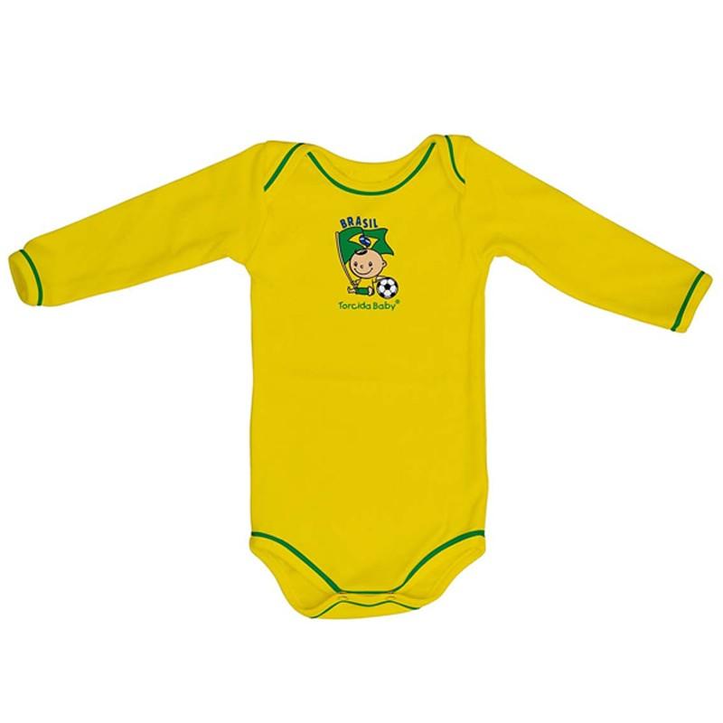 Kit 3 Peças Uniforme Bebê do Brasil Longo Torcida Baby - 034A