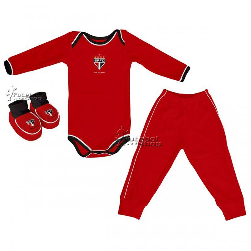 5fed73ca5e Kit 3 Peças Uniforme Bebê do São Paulo Torcida Baby Body - 034A - FUTEBOL  SHOP ...