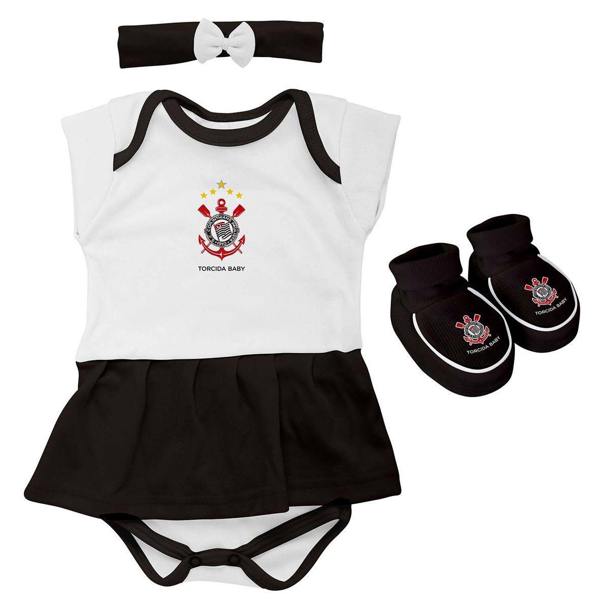 Kit 3 Peças Torcida Baby Body Menina Corinthians - 033B