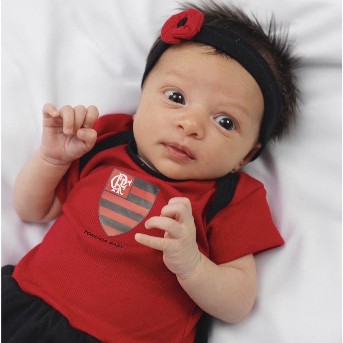 fa07300c0c1dfc Kit 3 Peças Torcida Baby Body Menina Flamengo - 033B