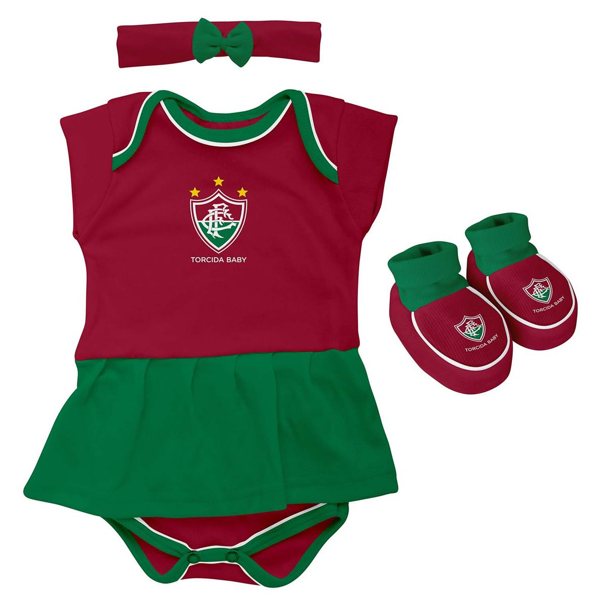 Kit 3 Peças Torcida Baby Body Menina Fluminense - 033B