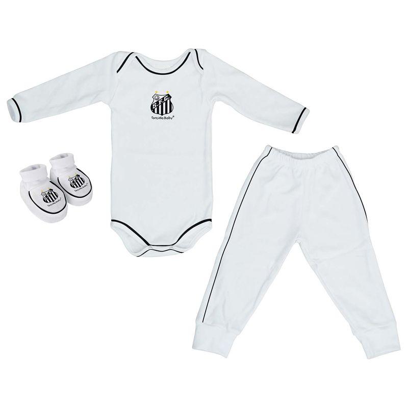 Kit 3 Peças Uniforme Bebê do Santos Longo Torcida Baby - 034
