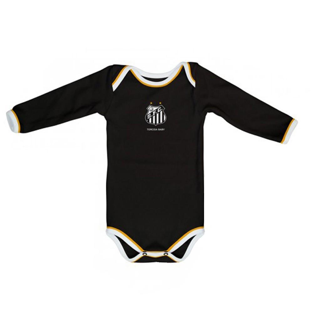Kit 3 Peças Uniforme Bebê do Santos Longo Torcida Baby - 034A