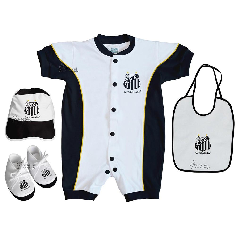 Kit 4 Peças Bebê  do Santos Torcida Baby Macacão Curto - 013A