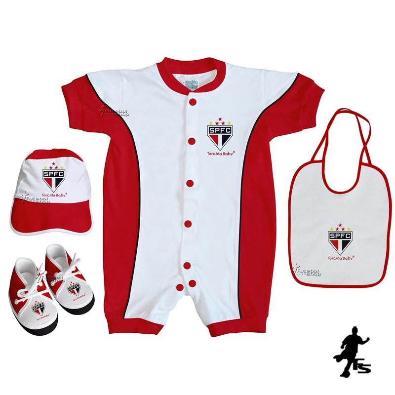 Kit 4 Peças Bebê do São Paulo Torcida Baby Macacão Curto - 013A - FUTEBOL  SHOP 056b5130eeec6