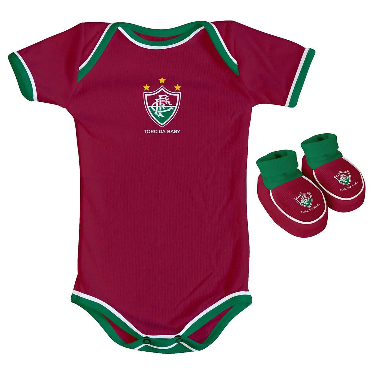 Kit Body + Pantufa para Bebê do Fluminense
