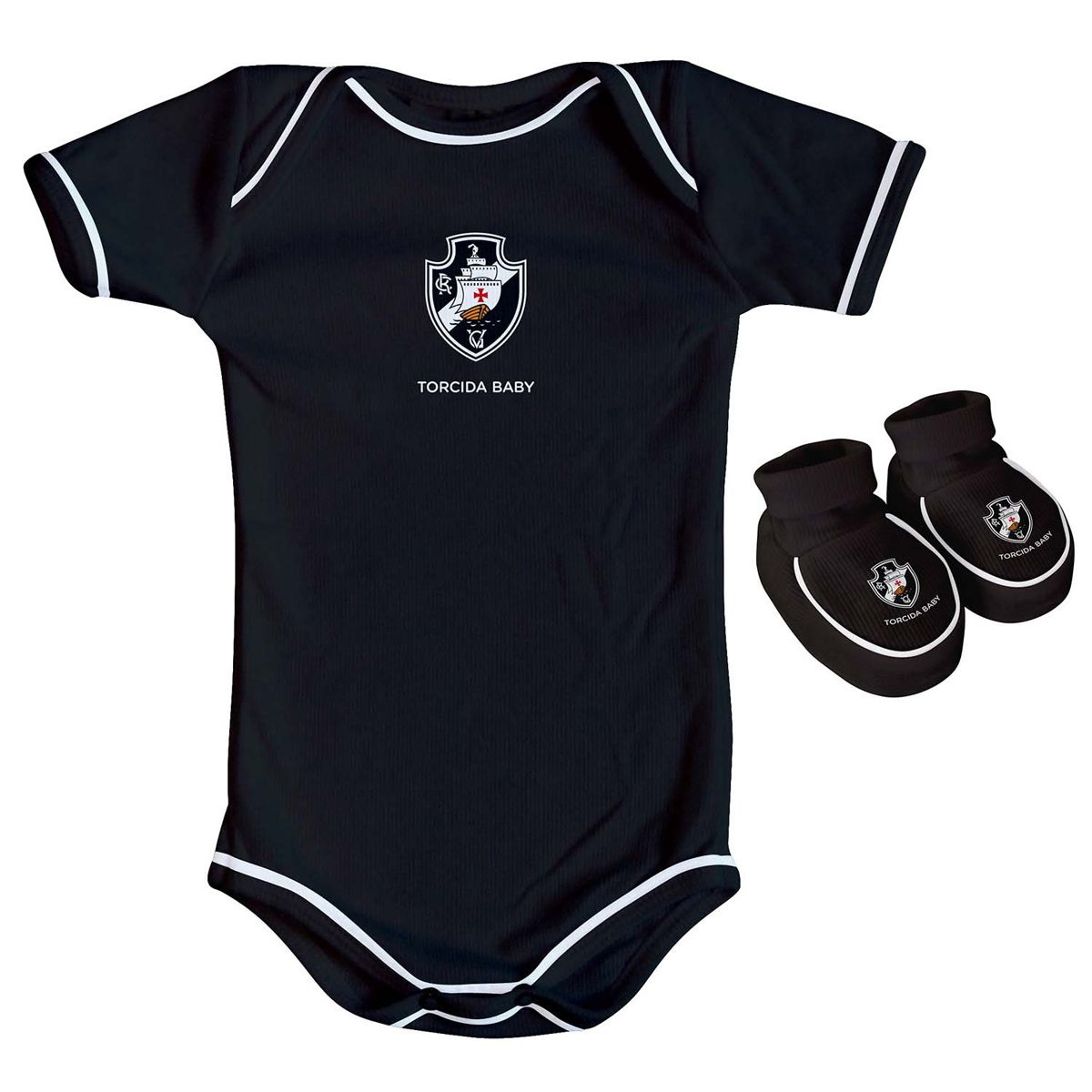 Kit Body + Pantufa para Bebê do Vasco da Gama