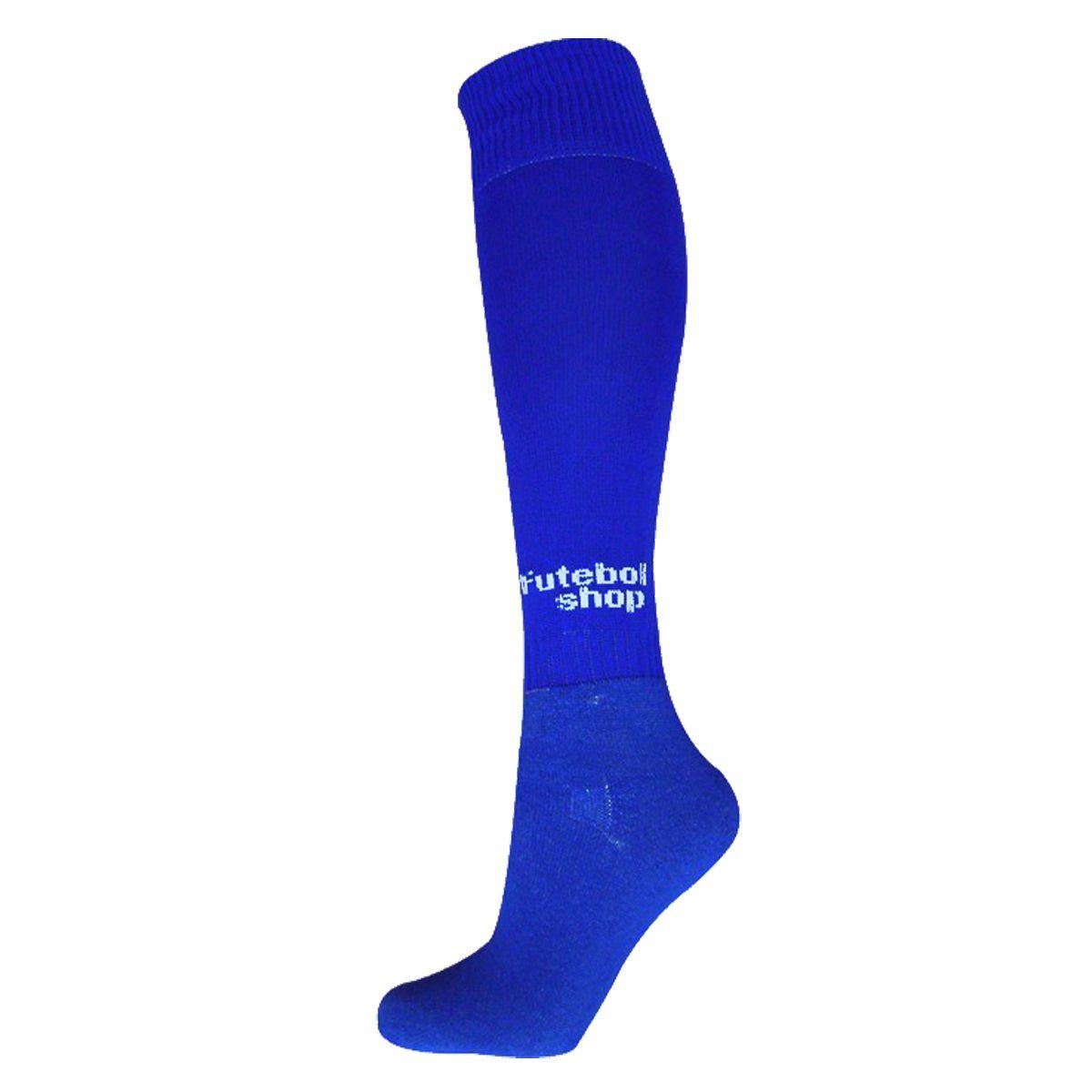 Kit C/ 12 Pares Meião Futebol Adulto (Preto + Azul) - 39/44