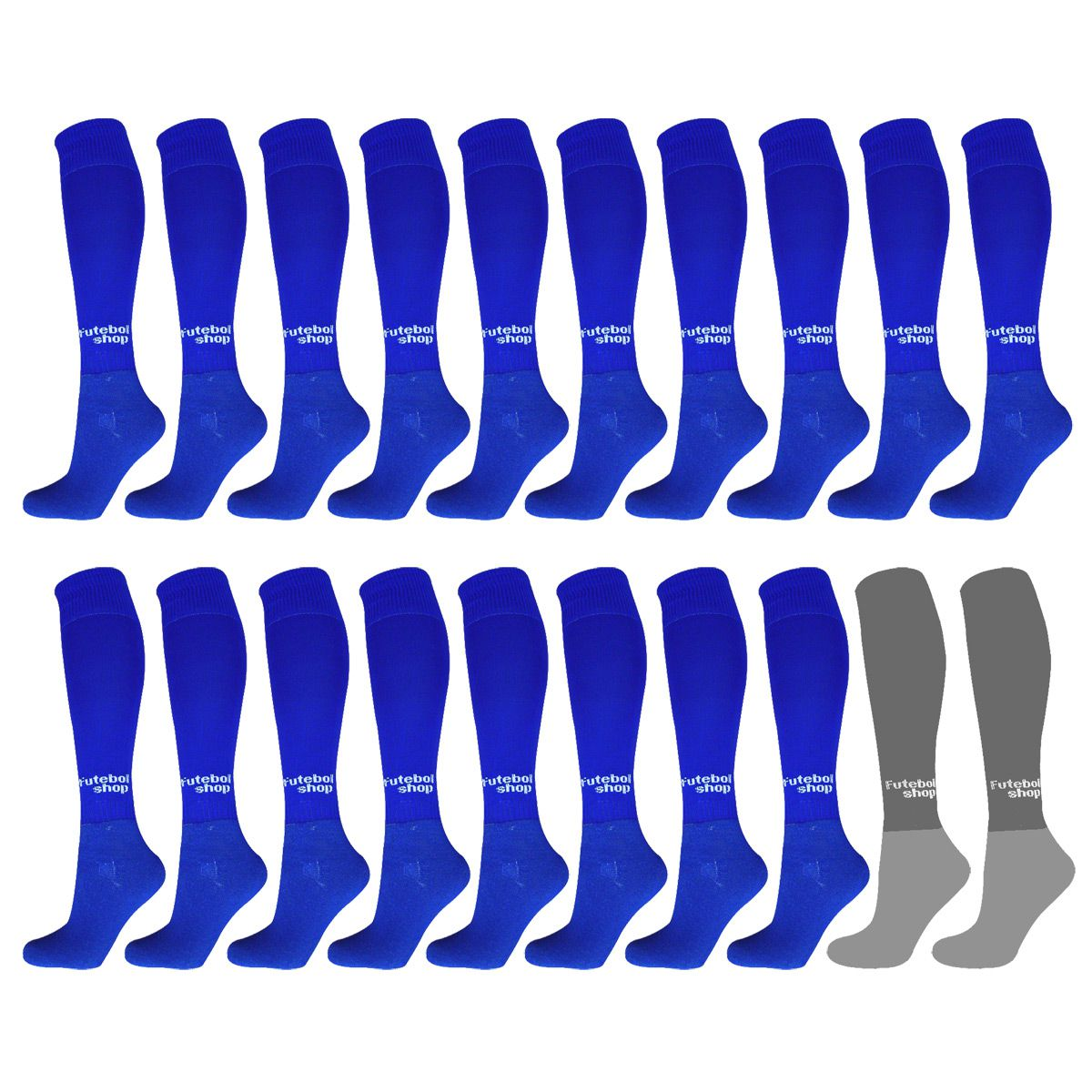 Kit C/ 20 Pares Meião Futebol Adulto (Azul Royal + Cinza) - 39/44