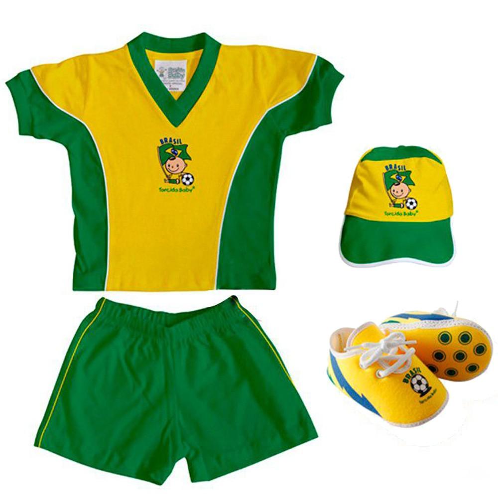 Kit Uniforme Bebê do Brasil Torcida Baby - 015A