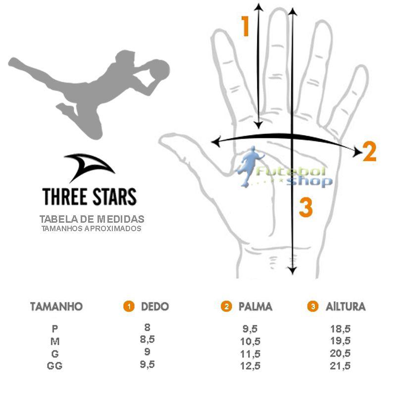Luva de Goleiro Three Stars Tigra 3 MM Estendida - Preta/Dourado Palma Branca