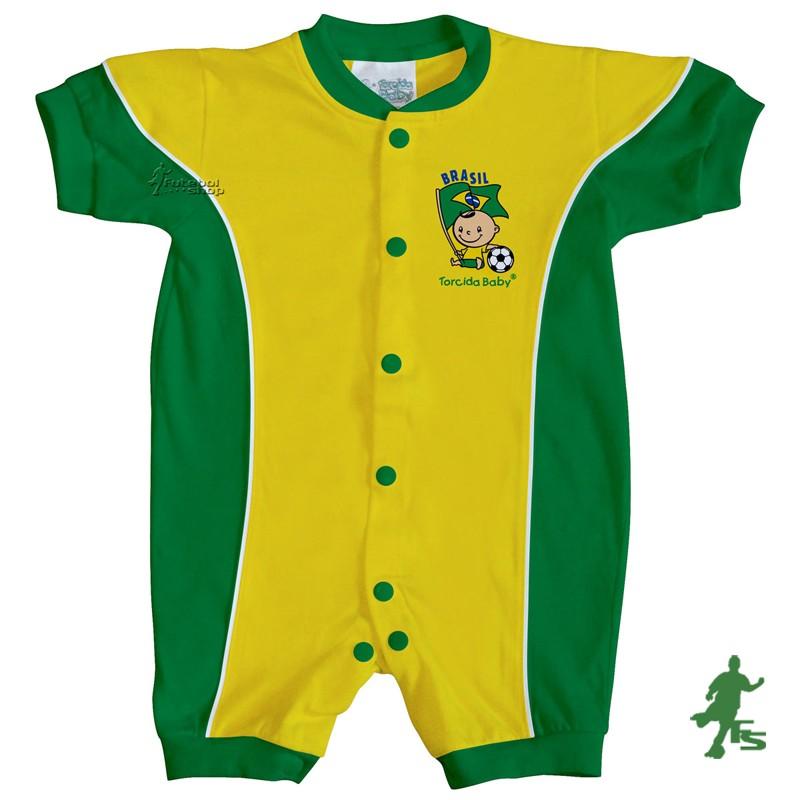 Macacão Curto Bebê Torcida Baby Brasil - 005A - FUTEBOL SHOP ... 5264e61c66ceb