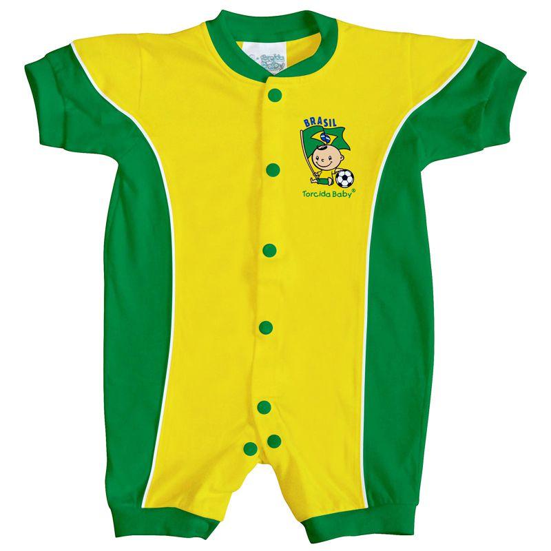 Macacão Curto Bebê Torcida Baby Brasil - 005A