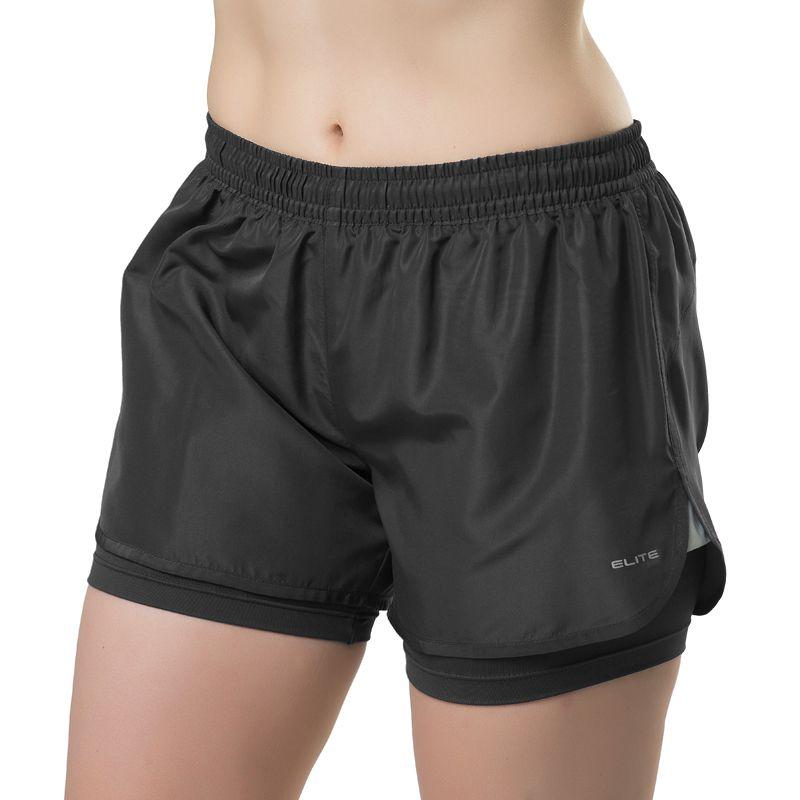 Short de Corrida Feminino Elite Running Never Land Preto - 033671