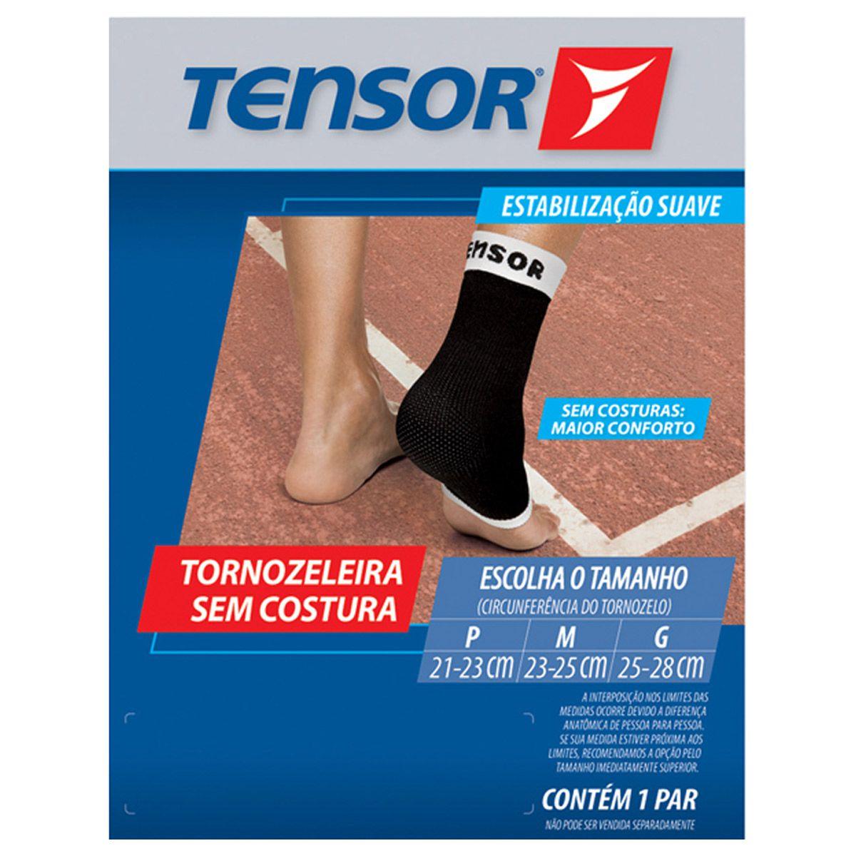 Tornozeleira Elástica Sem Costura  Tensor - 6402 - Preta
