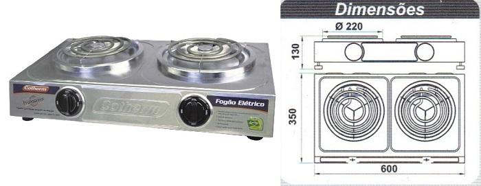 Fogão Elétrico Profissional 2 Bocas Cotherm Safira Inox - 220V  - Mix Eletro