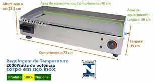 Chapa / chapeira para Lanches elétrica profissional Cotherm 70x30cm 2000W  - Mix Eletro