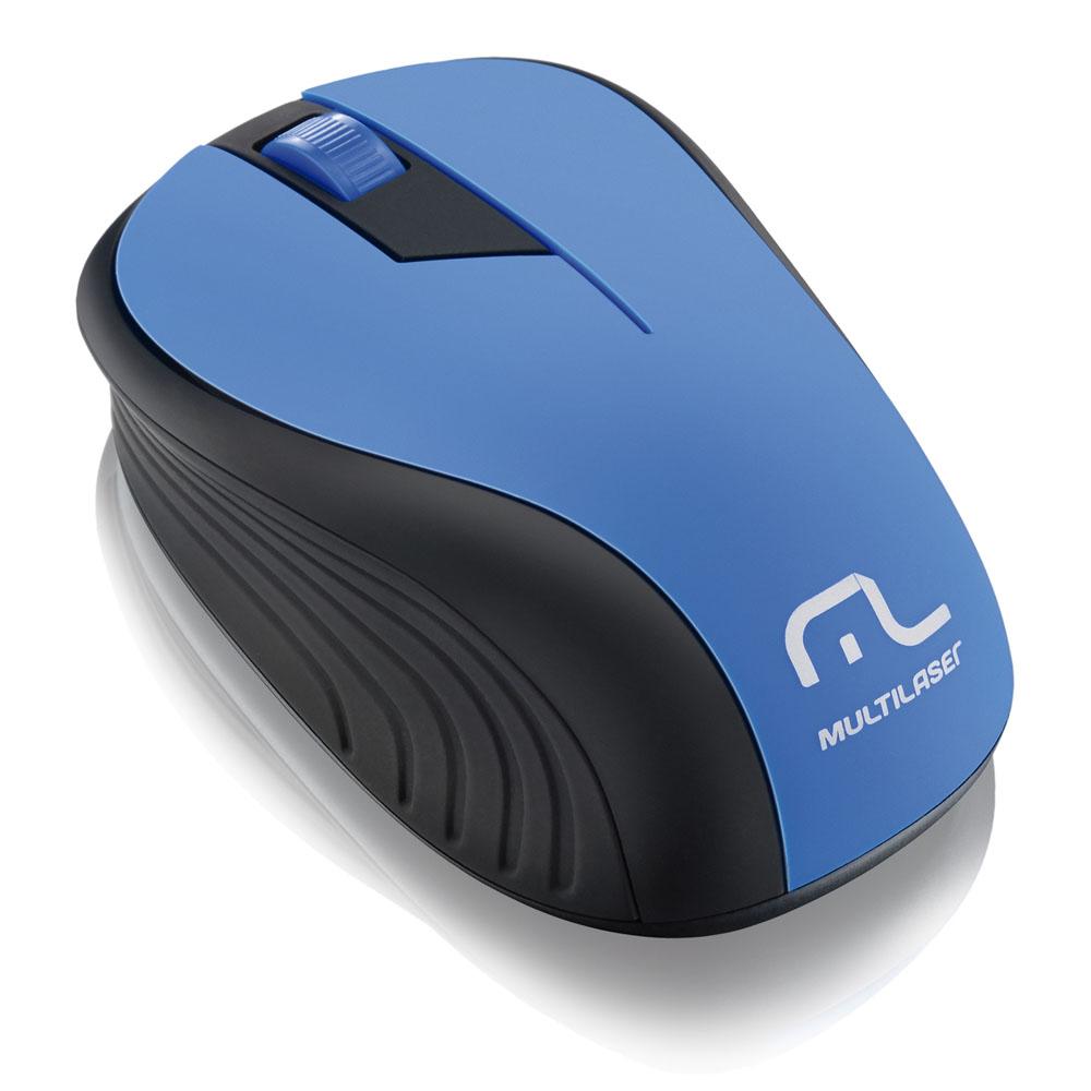 Mouse Óptico Azul Usb sem fio 2,4GHz 1200dpi Multilaser – MO215  - Mix Eletro