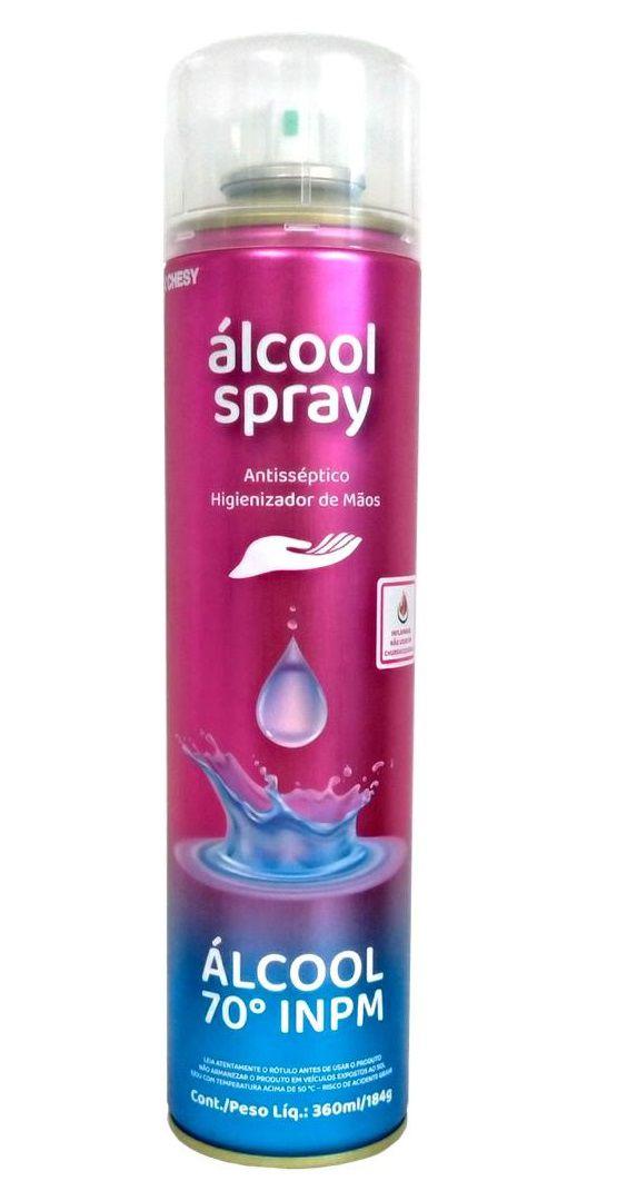 Álcool 70% Spray Higienizador De mão e uso geral Aerossol 360ml Chesy - Kit 3 unid.  - Mix Eletro