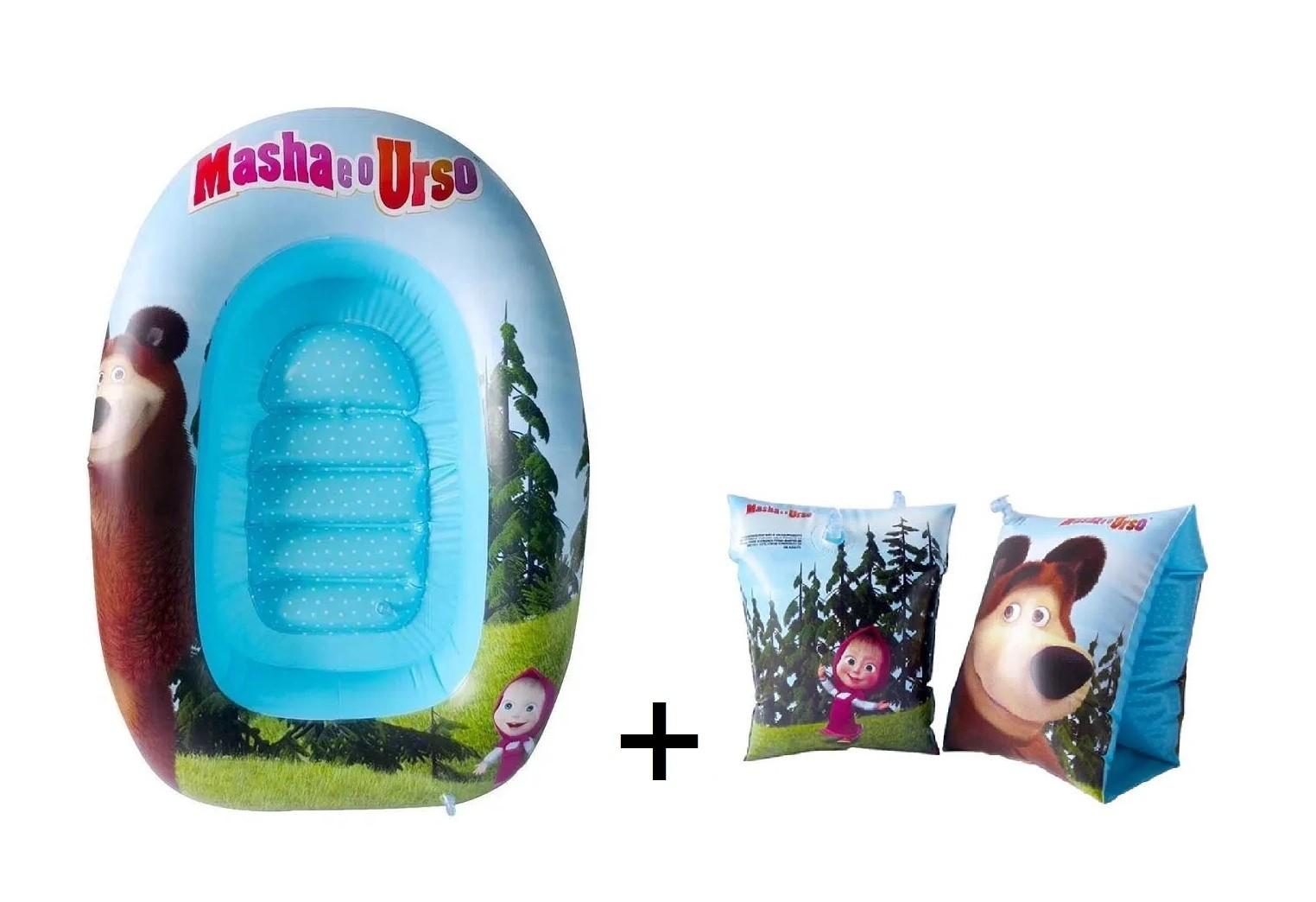 Barco inflável infantil 92cm + Boia de braço Masha e o Urso praia piscina Multikids  - Mix Eletro