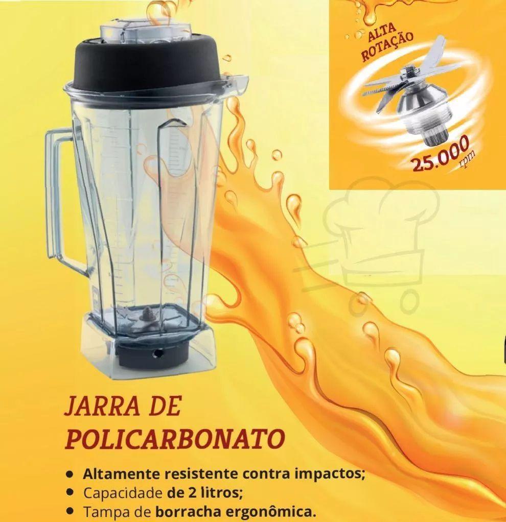 Blender Industrial Liquidificador 2 Litros 1400w Alta Rotação 25000 RPM Marchesoni  - Mix Eletro